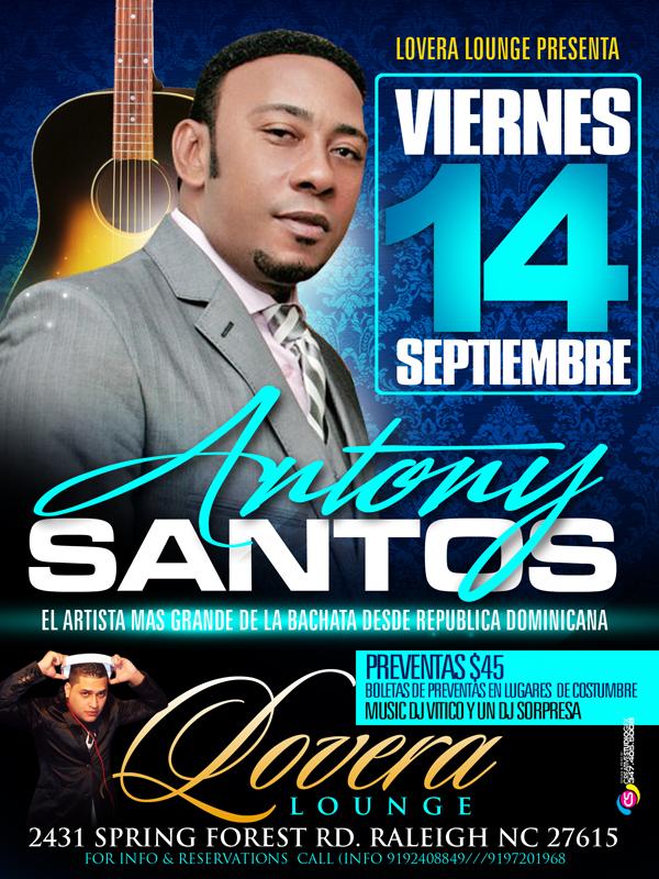 Antony Santos en Lovera lounge el viernes 14 de septiembre